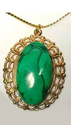 18thC Antique 26ct Malachite Ancient Egypt Eyeshadow Egyptian Sinai Gem Pendant 3