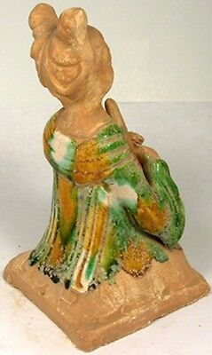 800AD Ancient Medieval Tang China Glazed Sancai Ceramic Female Woodwind Musician 5