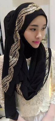 Muslim Women Hijab Rhinestone Long Scarf Islamic Shawls Head Wrap Scarves Shayla 8