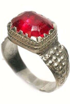 Antique 18thC Russia Ukraine Crimean Tatar Silver Ring Ruby Red Glass Gem Sz 11¼ 3