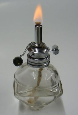New 4oz ALCOHOL EMERGENCY GLASS SPIRIT LAMP BURNER FACETED SIDES w 3/16 Wick