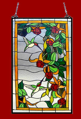 """Stained Glass Window Panel Hummingbirds 32"""" Tall x 20"""" Wide  LAST ONE THIS PRICE 2"""