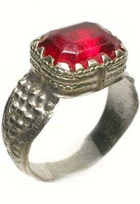 Antique 18thC Russia Ukraine Crimean Tatar Silver Ring Ruby Red Glass Gem Sz 11¼ 2