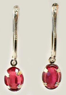 Antique 19thC Ruby Ancient Celtic Magic Amulet Lightening Plague Evil Earrings 5
