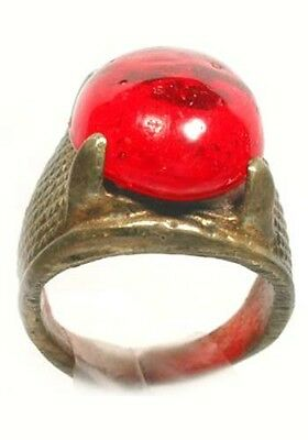 "Antique 19thC Crimean Tatar Silver Bronze Alloy Ring Ruby Red Glass ""Gem"" Sz6¼ 3"