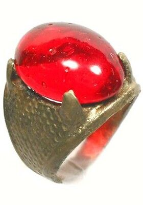 "Antique 19thC Crimean Tatar Silver Bronze Alloy Ring Ruby Red Glass ""Gem"" Sz6¼ 5"