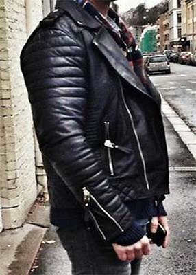 382bfe567 MENS COOL QUILTED Biker Black Real Moto Leather Jacket