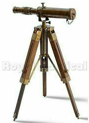 Nautical Vintage Antique Decorative Solid Brass Telescope w/ Wooden Gift Tripod 9