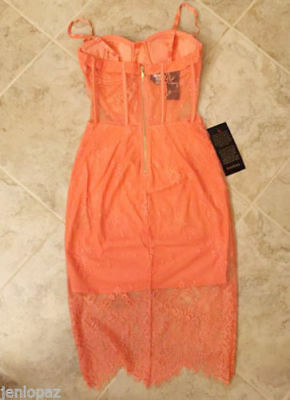 NWT bebe S Small 4 lace midi dress coral straps top cutout floral bustier club 3