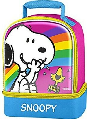 (2) New Peanuts Thermos Dual Compartment Lunch Tote Bag + Book + Coloring Kit 2