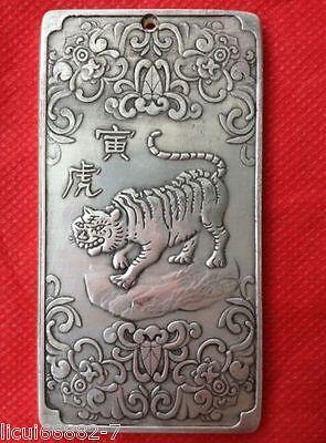 Old Chinese tibet Silver Chinese Zodiac tiger Bullion thanka amulet thangka 2