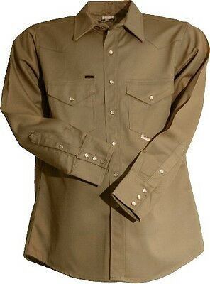 "Lapco 9oz Flame Retardant Khaki Work Shirt 15 X 33/"" Medium"