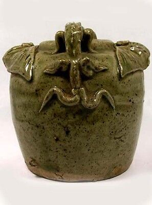 19thC Qing Dynasty China Antique Fanciful Ceramic Salamander + Bat Motif Jar 2