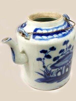 Lg Antique 19thC China Blue + White Ming Style Porcelain Teapot Botanical Motif 2