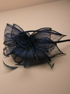 Navy blue fascinator alice hair band with stiffened net loops and feather ten... 2