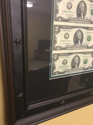 5 CUSTOM black FRAME DOUBLE MAT FOR 1 20 bill 32 Uncut Sheet of Money 2