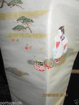 MINT/VTG 40s/ WHITE japanes OBI, RECTANGULAR, BED RUNNER, WALL HANGING