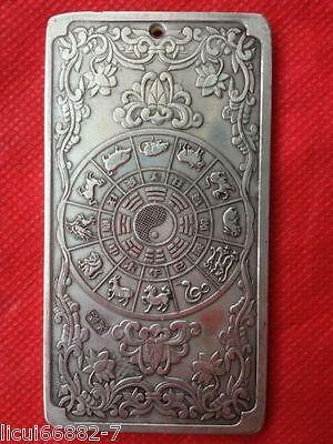Old Chinese tibet Silver Chinese Zodiac tiger Bullion thanka amulet thangka 3