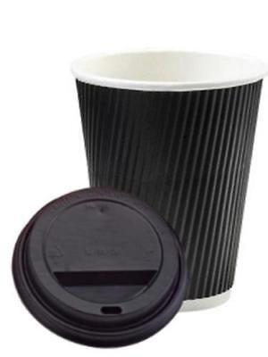 455ml Negro 3-PLY Ripple Desechable Papel Café Tazas - GB Fabricante 3