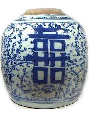"Antique Porcelain Blue + White ""Ming Style"" Vase HUGE 19thC China Hand Painted 2"