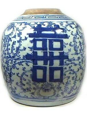 "Huge Antique 19thC China Hand Painted Porcelain Blue+White ""Ming Style"" Vase"