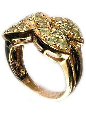 Gold Ring w/17 Green Sapphires Handcut Ancient Rome Abundance God Saturn Gem 9kt 2
