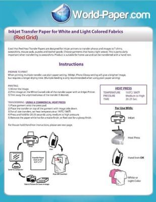 "Heat Transfer Paper Red Grid Iron On Light T Shirt Inkjet Paper 100 Pk 8.5""x11"""