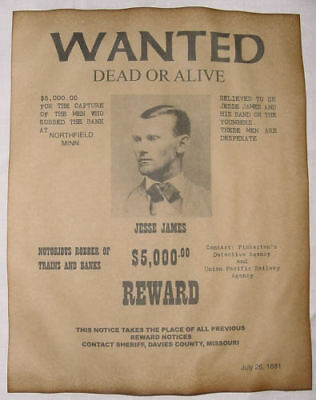 6 Old West Wanted Posters Outlaw Billy the Kid Jesse James Soapy Smith, more 3