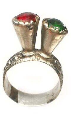 18thC Russian Crimean Tatar Silver Ring Ruby Red Emerald Green Glass Gems Sz 9¾