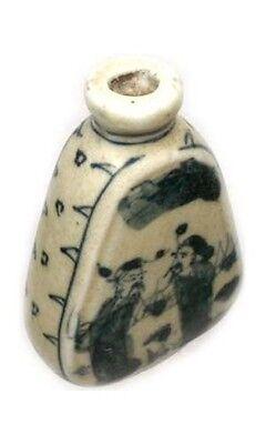"Antique 19thC China Blue + White ""Ming Style"" Porcelain Park Motif Snuff Bottle 2"