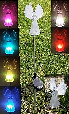 Set of 2 Solar Power Angel Fiber Optic Wings Garden Stake Color Change LED Light 5