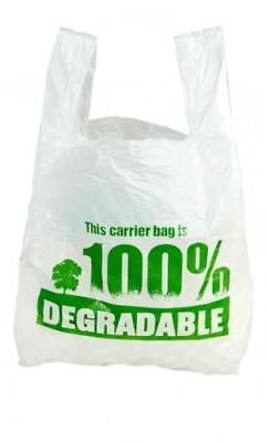 100% BIODEGRADABLE WHITE CARRIER BAGS | Plastic/Shopping/Stores/Vest/Bags Eco 2