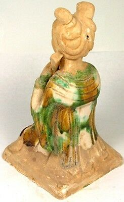800AD Ancient Medieval Tang China Glazed Sancai Ceramic Female String Musician