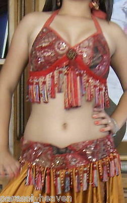 """BELLY DANCE CORAL RED SARI TRIBAL FRINGE TASSEL BRA TOP """" D / DD """" Cup RUSTY RED 2"""