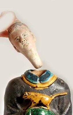 Ming China Antique Sancai Statuette X-Large Glazed Multi-Color w/ Tiger 1600AD 2