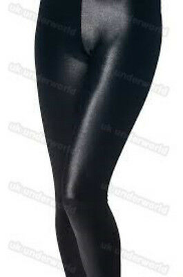 Girls Black Shiny Look Leggings Childrens Disco Pants 3/4 Length Ages 2-13 Years 3