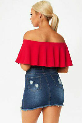 64482c375ba ... New Womens Ladies Ruffle Frill Bardot Off Shoulder Crop Top Shirt Size  UK 8-14