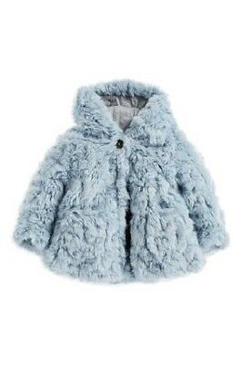 BNWT Next Girls Pale Blue Faux Fur Winter Coat Jacket 2-3 Years 2