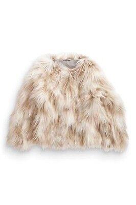 BNWT Next Neutral Beige & Cream Faux Fur Winter Coat Jacket 6-7 Years 2