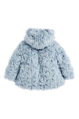 BNWT Next Girls Pale Blue Faux Fur Winter Coat Jacket 2-3 Years 3