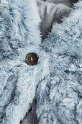 BNWT Next Girls Pale Blue Faux Fur Winter Coat Jacket 2-3 Years 4
