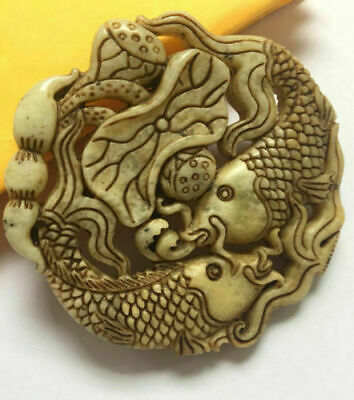 Chinese ancient  natural old jade hand carved Lotus fishs Pendant 4