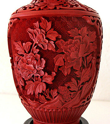 big 20th Pair of Vases - Mirror inverted Original Chinese Cinnabar Lacquer RARE 5