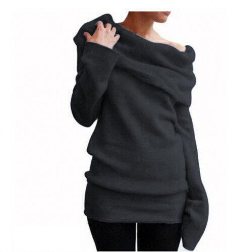 Womens Off the Shoulder Sweatshirts Sweater Winter Warm Pullover Tops Coats