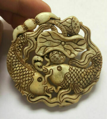 Chinese ancient  natural old jade hand carved Lotus fishs Pendant 5