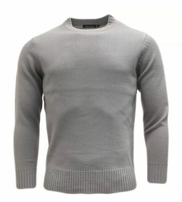 Mens Plain Colour Knitwear Sweater Jumper Pullover Crew Neck Long Sleeve TopBNWT 2
