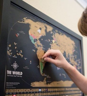 Large Travel Tracker Scratch Off World Map Poster with Country Flags Scratch Map