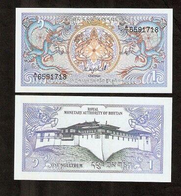 Bhutan 1 Ngultrum P12 A 1986 Bundle Dragon Dzong Unc Money Note X 50 Pcs Bill 2
