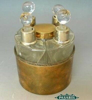 Set Of 5 Copper and Glass Scent Bottles France Circa 1900