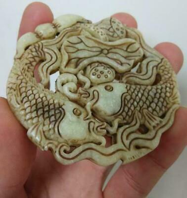 Chinese ancient  natural old jade hand carved Lotus fishs Pendant 2